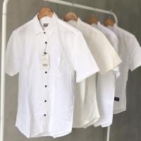 White shirt kemeja hem cowo putih polos keren bagus murah