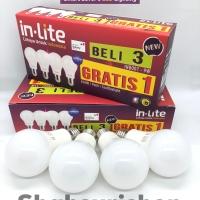 LAMPU LED BULB IN-LITE INLITE INB007 3 GRATIS 1 9W 9 W WATT BERGARANSI