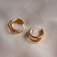 Anting pesta emas alloy bentuk ring bulat- premium quality