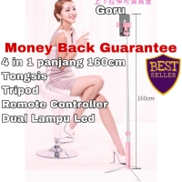 Tongsis Tripod Remote Bluetooth Panjang LED Flash foto Iphone Android - 110cm, Merah Muda