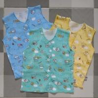 Baby Hoki+Baju bayi+Baju buntung newborn+motif printing dasar warna