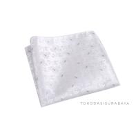 Pocket square handkerchief import putih silver motif ready st