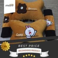 bantal leher paket seat belt / bantal character line cony dan brown