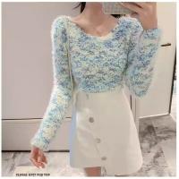 Floral knit fur top wanita cewe biru putih blue white bunga baju