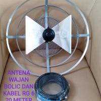 antena tv wajan bolic/ uhf+ kabel 20m dan jeck/tv tabung,led,lcd