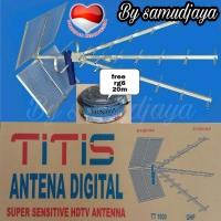 Antena tv digital titis tt1000 dan kabel rg6 18meter