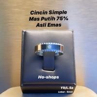 Cincin Mas Putih Simple Kadar 75% Asli Emas Y9/L.Sa & YSa/L.0W