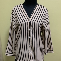 Stripe Top baju atasan wanita garis coklat Ld 51 Pjg 62
