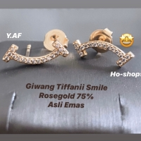 Anting / Giwang Model Tiffanii Smile Rosegold Kadar 75% Asli Emas