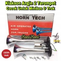 Klakson Angin / Air Horn 2 Corong Terompet Untuk Mobil 12 - 24 Volt