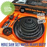 Hole Saw Kit Set 16 pcs Heavy Duty / Mata Bor Lubang Kayu Pipa PVC