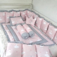 Bumper set bayi-bumper box bayi-bedding set bayi-flamingo