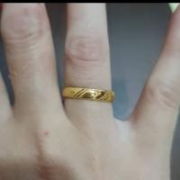 Cincin polos dengan motif etnik elegant emas asli