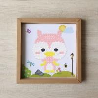 Owl buttons painting - mainan edukasi anak art craft diy