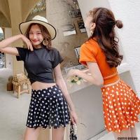 Bikini set cewe wanita top skirt atasan rok orange polkadot hitam