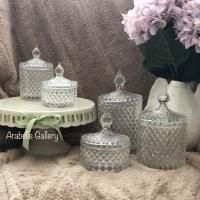 Crystal Jar Set of 5pc Toples Kristal Tower Glass Transparant Hamper