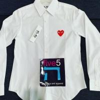 Cdg play white kemeja / shirt / red heart