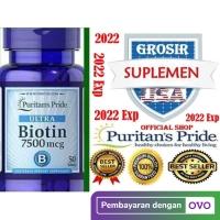 BIOTIN 7500 50 PENYUBUR RAMBUT Vitamin C D3 E K Calcium Puritan IMPOR
