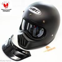 Helm Cakil HBC INNER Visor Hitam - Full Face. Free Sarung Backpack