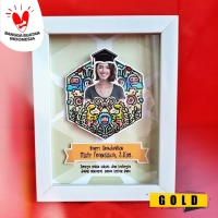 Custom Hadiah Wisuda Doodle Pop Up Frame Hexagon SMALL HX81 GOLD