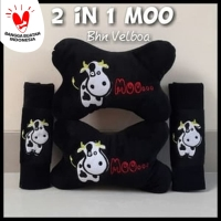 Bantal Mobil Set 2in1 Moo / Headrest Car Set 2 in 1 Moo Sapi