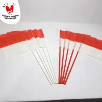 bendera pawai kecil merah putih +gagang plastik
