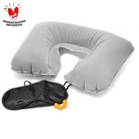 Bantal leher angin tutup mata kuping set travel pillow inflatable