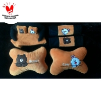 Bantal Mobil 3in1 LINE CONY BROWN / Headrest Car Set 3 in 1 Brown Cony