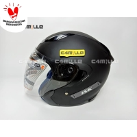 HELM INK METRO SOLID BLACK DOFF DOUBLE VISOR HALF FACE HITAM DOP