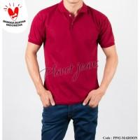 Baju kerah polo shirt pria polos / lacoste polosan cowok Merah Maroon