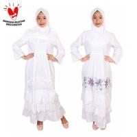 Fayrany FGP-008 Size 1 - 6 Baju Muslim Anak Gamis - Putih - Bordir Warna, 3 Tahun