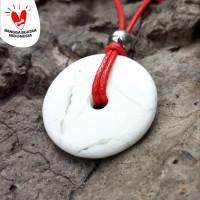 Kalung Liontin Giok Putih Model Koin Bulat Original