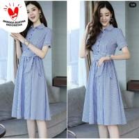 [Dress sevy sripe 362 RO] pakaian wanita dress katun salur biru