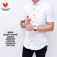 Baju Kemeja Polos Putih Pria Lengan Pendek Simple | Baju Katun Cowok