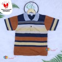 Kerah Salur T-Shirt Anak Laki uk 5-6 Tahun / Kaos Polos Baju Atasan