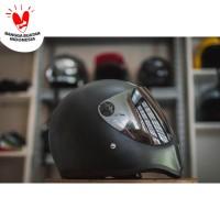 Helm Cakil HBC Visor Chrome Hitam - Full Face. Free Sarung Backpack