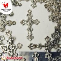 Bandul Salib Logam Nikel Besar - Bahan Kalung Rosario/ Gantung Kunci