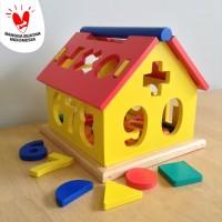 Mainan Edukatif / Edukasi Anak - Puzzle Balok Kayu - Rumah Angka Shape