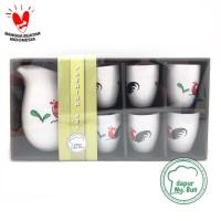 Set Water Jug & 6 Gelas Ayam Jago Seri 2 / Hampers /Gift/Paket Lebaran