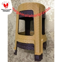 Bangku Bakso / Kursi Plastik Anyaman Rotan BULAT