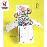 Doodle Kartu Ucapan Natal Card Box Christmas Custom Ucapan 3D Pop Up
