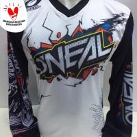 baju kaos jersey sepeda-kaos motor cross oneal putih 861