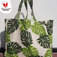 Tas belanja besar/tote bag Kanvas oversized motif Monstera