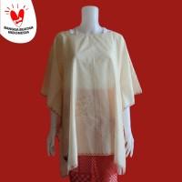 Atasan Panjang MGKYM Tambal Sulam Warna Merah, Hitam & Putih Gading - Putih Gading