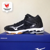 Sepatu Volley Mizuno Wave Lightning Z5 Mid Black Silver V1GA190504 Ori