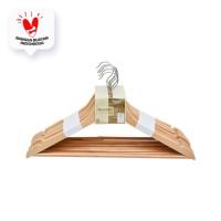 GANTUNGAN BAJU KAYU-WOOD CLOTH HANGERS (8) NATURAL