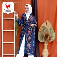 Long Outer Tenun Ikat Etnik Camelia Dakara Indonesia