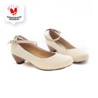 AliveLoveArts BalletWood Cream Heels Fashion Sepatu Wanita Termurah