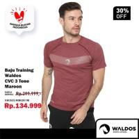 PROMO Baju Training Running Fitness Gym Waldos Workout CVC - Maroon, M