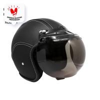 Helm Bogo Retro JMC Full Leather Black